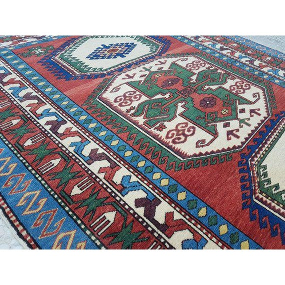 Islamic 1970s Vintage Caucasian Pattern Turkish Rug - 5′1″ × 6′4″ For Sale - Image 3 of 6