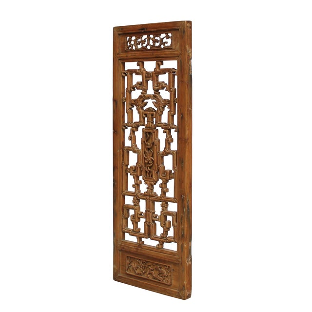 Asian Chinese Vintage Light Brown Relief Motif Wood Wall Hanging Art For Sale - Image 3 of 9