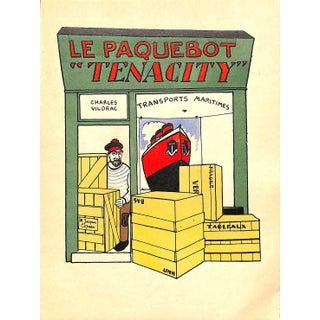 Paris Storefront, French Lithograph, Le Paquebot Tenacity, Guilac 1925, Matted For Sale