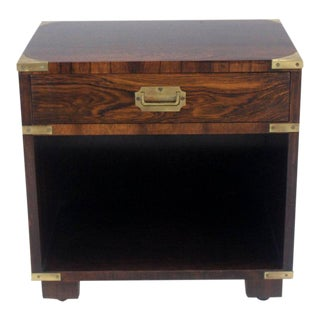 20th Century Campaign John Stuart Rosewood and Brass Nightstand For Sale