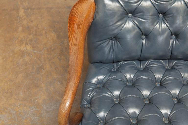 Schafer Brothers Chippendale Style Tufted Leather Library Chair   Image 5  Of 10