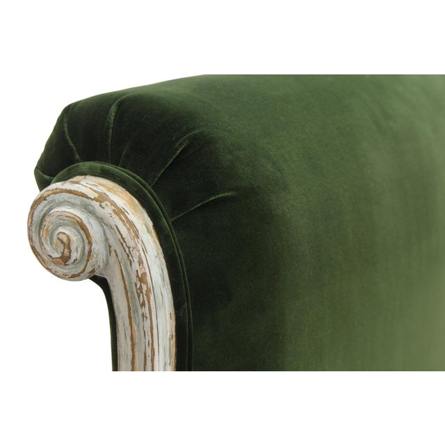 Mid 20th Century Vintage Mid Century French Provincial Green Velvet Slipper Chairs- A Pair For Sale - Image 5 of 8