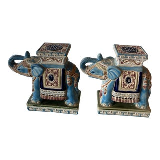 Vintage Blue Elephant Garden Stands Bookends or Statues -A Pair For Sale