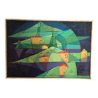 1950s Abstract House Landscape Oil Painting, Framed For Sale