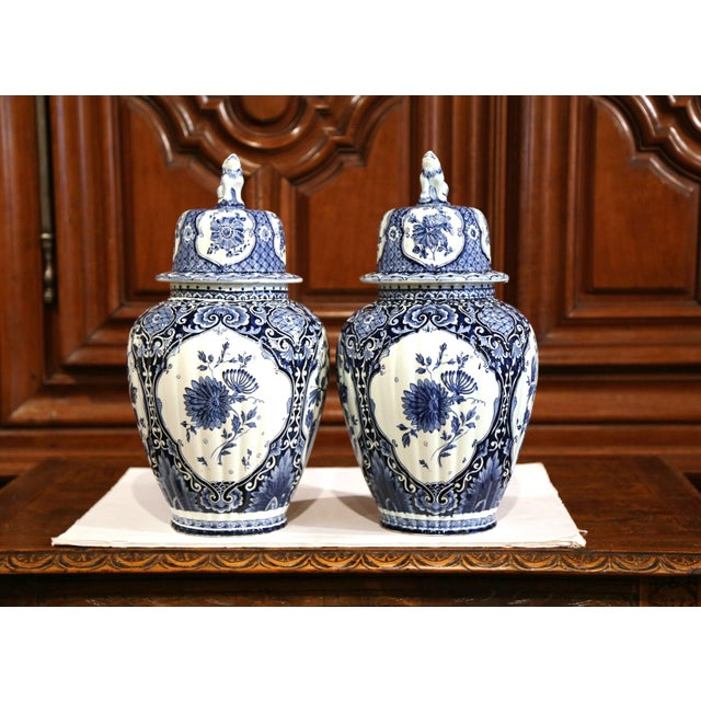 Mid 20th Century Large Mid-20th Century Dutch Blue and White Maastricht Delft Ginger Jars - a Pair For Sale - Image 5 of 9
