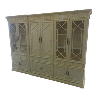 1990s American Classical Cream Timber Fretwork Cabinet
