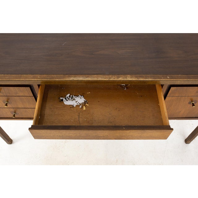 Lawrence Peabody Style Mid Century Walnut and Laminate Desk For Sale - Image 12 of 13