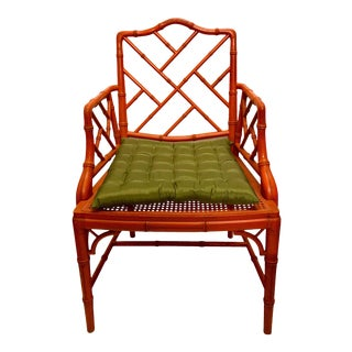 Chinese Chippendale Style Faux Bamboo Chair For Sale