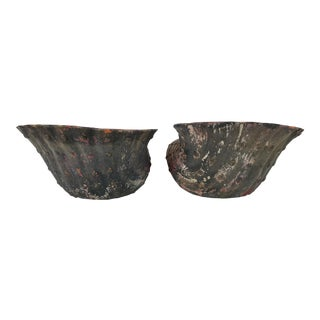 1970s Vintage Handmade Shell Terracotta Planters- a Pair For Sale