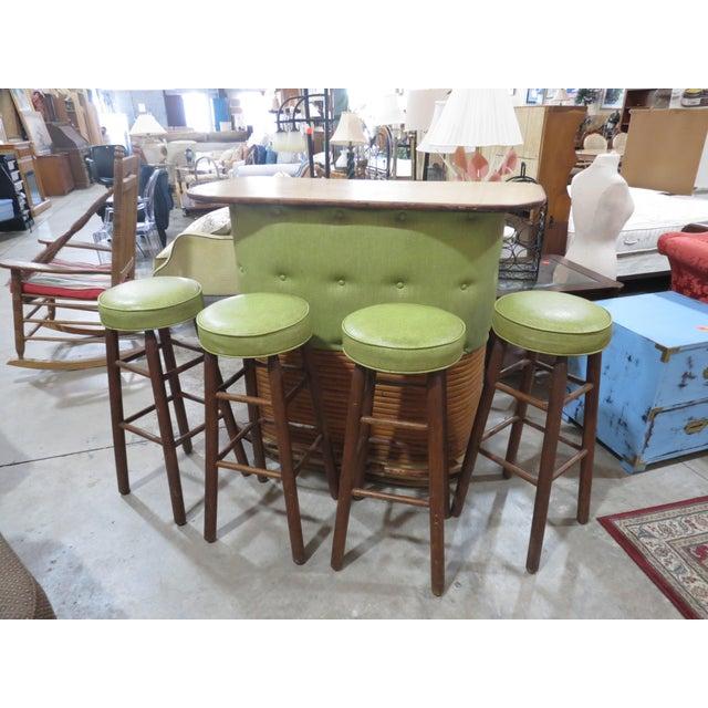 Vintage Rattan and Avocado Green Tiki Bar & 4 Bar Stools For Sale - Image 13 of 13