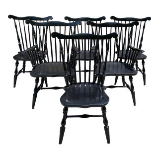 Early 20th Century Antique Black Windsor Chairs- Set of 6 For Sale
