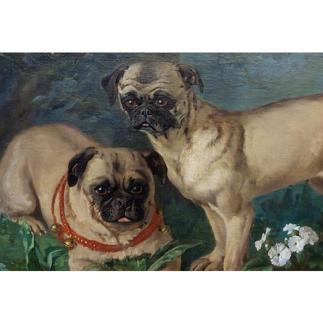 French Charles Nogaro - Portrait of Two Pugs-19th Century French Oil Painting For Sale - Image 3 of 10