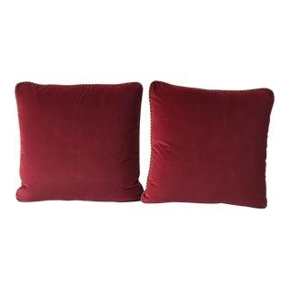 Custom Red Velvet Pillows - A Pair For Sale
