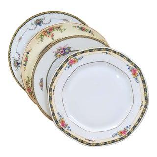 Vintage Mismatched Fine China Dinner Plates - Set of 4 For Sale