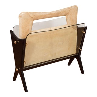 Vintage Goatskin and Lacquered Wood Magazine Rack For Sale