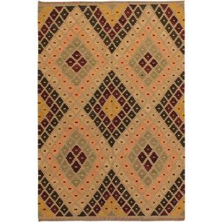 Raymon Gray/Black Hand-Woven Kilim Wool Rug -5'4 X 6'8 For Sale