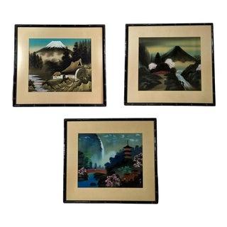 1940s Japanese Folk Art Gouache and Acrylic Paintings, Framed - Set of 3 For Sale