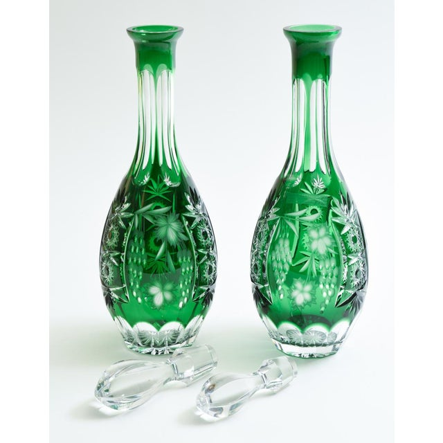 Vintage Pair Cut Crystal Decanters- A Pair For Sale - Image 11 of 13