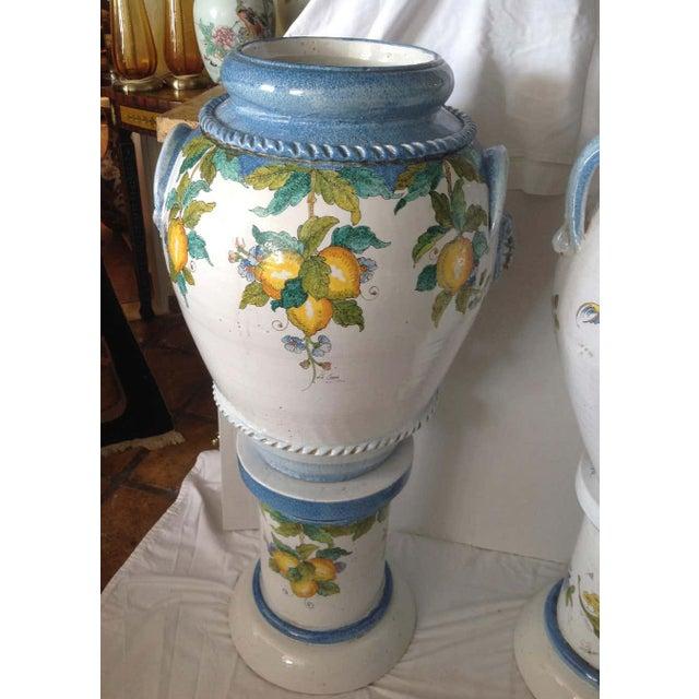 "Ceramic ""Pair"" of Massive Glazed Terra Cotta Urns on Pedestals For Sale - Image 7 of 13"