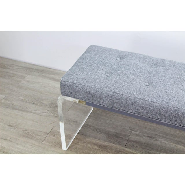 Elegant Custom Waterfall Acrylic & Linen Bench, Acrylic Bench, Gray Linen Bench For Sale - Image 4 of 10