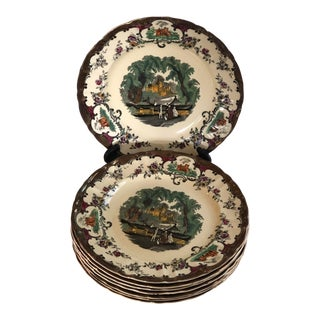 Antique English Masons Leeds Dinner Plates - Set of 8 For Sale