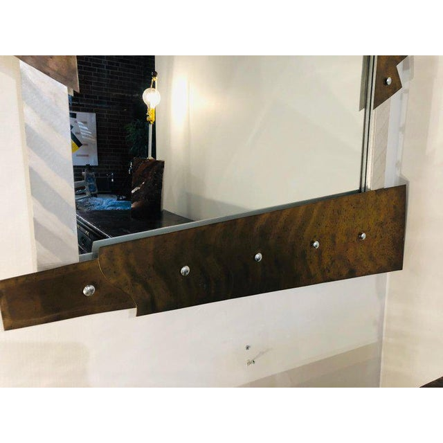 Contemporary Modern Metal Wall Mirror For Sale - Image 3 of 8
