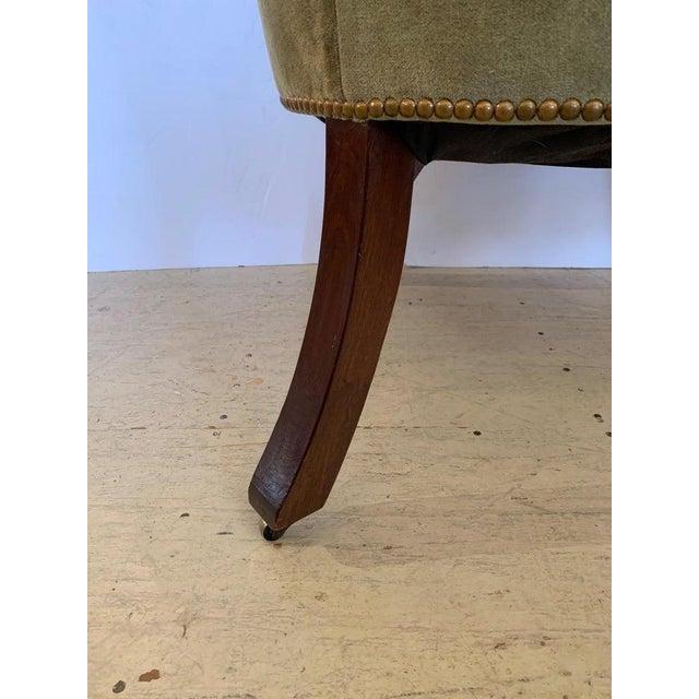 Traditional Vintage Tufted Sage Green Velvet Barrel Back Wing Chair For Sale - Image 3 of 12