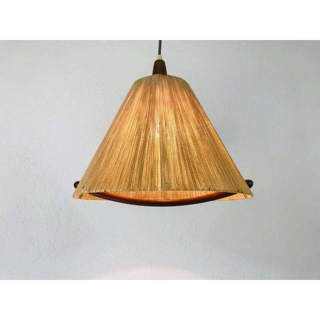 Temde Leuchten Midcentury Teak and Rattan Hanging Lamp, circa 1970 For Sale - Image 4 of 12