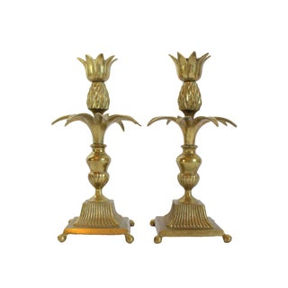 1970s Brass Pineapple Candlestick Holders - a Pair For Sale