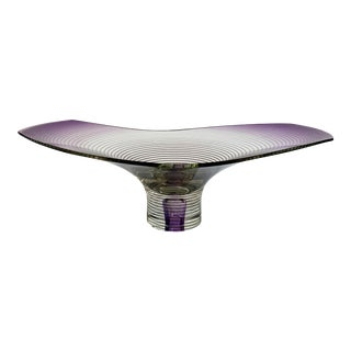 Vintage Modern Optical Art Glass Bowl For Sale