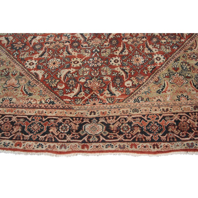 Brick Red Early 20th Century Antique Persian Mahal Rug-8′9″ × 10′5″ For Sale - Image 8 of 11