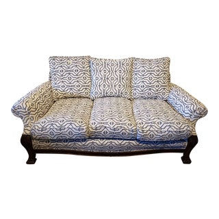 4 Piece Set. Sofa, Two Parlour Chairs & Ottoman. New Upholstery & Down Filled ! For Sale