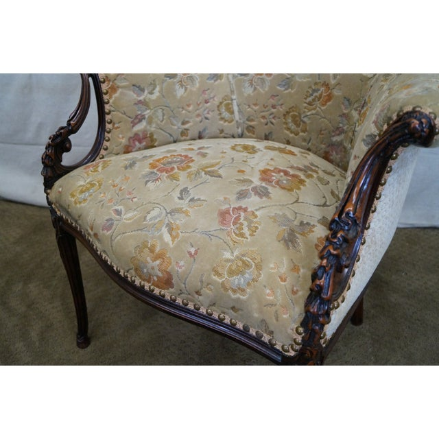 Vintage Mahogany Carved Fire Side Host Wing Chairs - Image 9 of 10