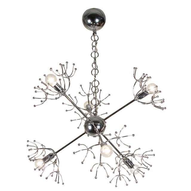 Italian 1960s Chrome Starburst Chandelier - Image 1 of 9
