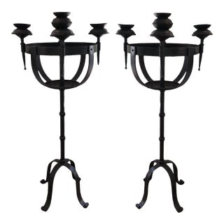 Antique Wrought Iron Torchere Floor Candelabra - a Pair For Sale