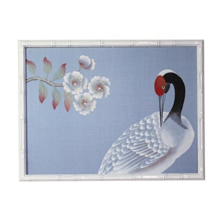1970s Vintage Chinoiserie White Crane on Blue Silk Painting For Sale