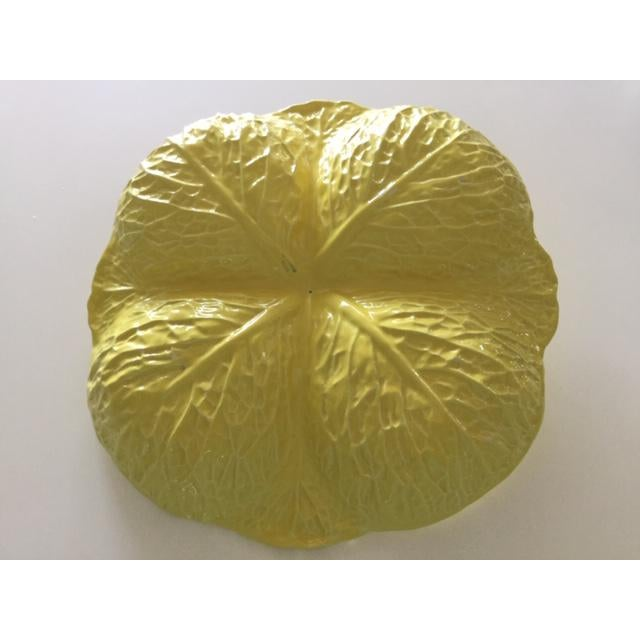 Mid-Century Modern Vintage Secla Yellow Cabbage Divided Dish, Made in Portugal For Sale - Image 3 of 5