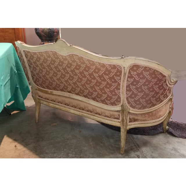 Vintage French Provincial Louis XVI Rose Settee Rococo Canape Loveseat For Sale - Image 4 of 11