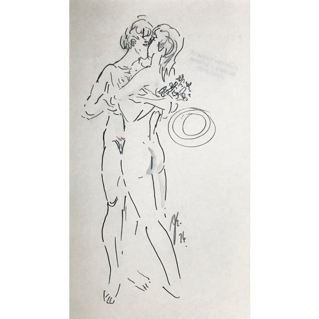 Original vintage pen nude figural drawing by Richard J. Ericsson (1922-2010). Ericsson was a painter, sculptor,...