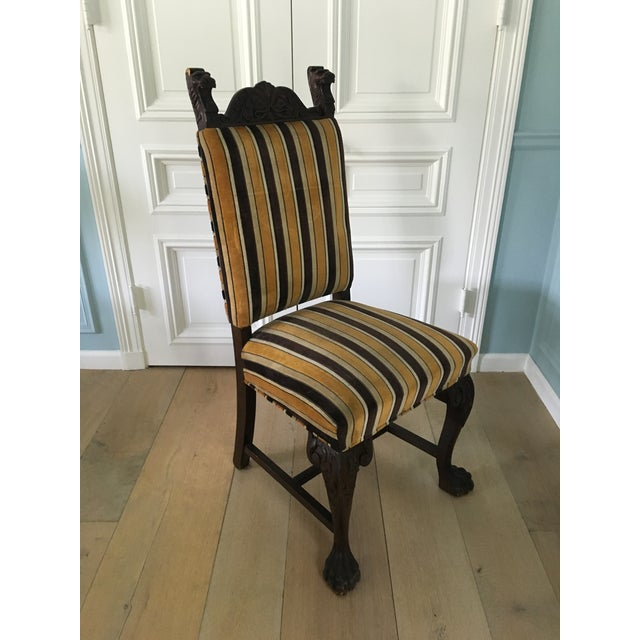 Antique French Stripe Side Chairs - Set of 6 - Image 2 of 8