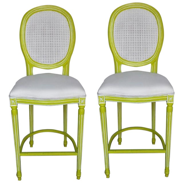 French Louis XV Lime & White Bar Stools - A Pair - Image 1 of 4