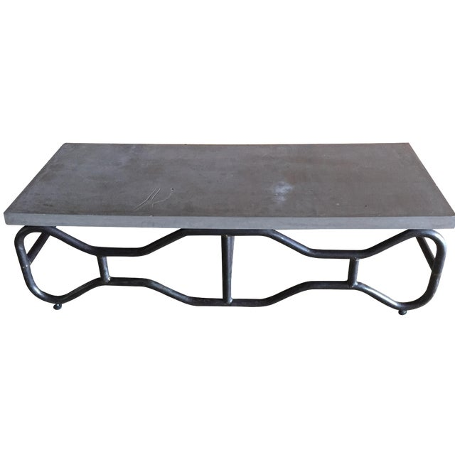 Industrial Modern Concrete and Metal Coffee Table - Image 1 of 5