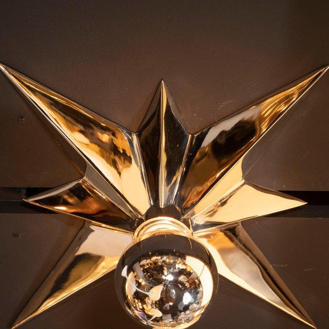 Mid-Century Modern Polished Nickel Star Flush Mounts - Set of 4 For Sale In New York - Image 6 of 10