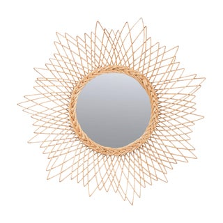 English Vintage Rattan Sunburst Mirror For Sale