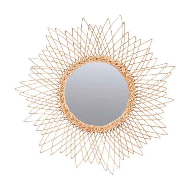 English Vintage Rattan Sunburst Mirror For Sale