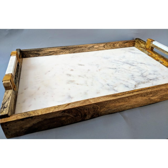 Early 21st Century Handcrafted Wood & Marble Bar Tray For Sale - Image 5 of 12