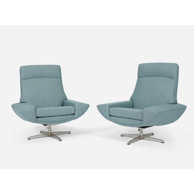 Pair of rare high back capri chairs. Designed by Johaness Anderson, 1958. Fully restored and reupholstered.