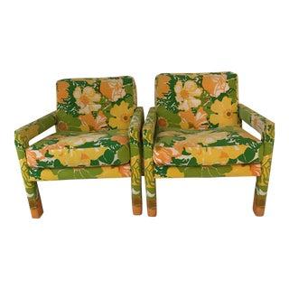 """Milo Baughman """"Flower Power"""" Parsons Chairs - A Pair"""