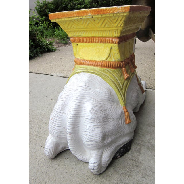 Yellow 1970s Vintage Italian Majolica Glazed Terra Cotta Ceramic White and Yellow Hand Painted Camel Statue Garden Seat For Sale - Image 8 of 11