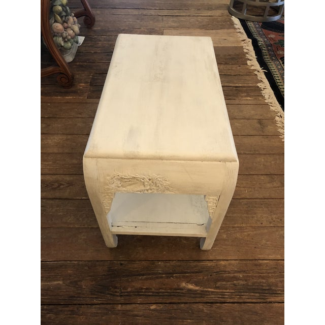 Chinese Whitewashed Painted Rectangular Low Side Table For Sale - Image 9 of 13